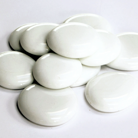 6 Large Glass Pebbles - White Marble